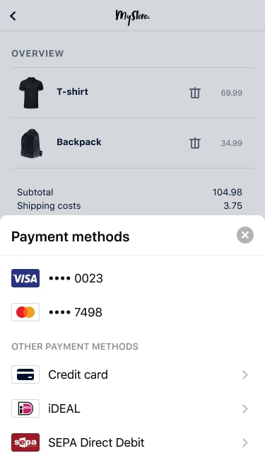 Payment method options in-app