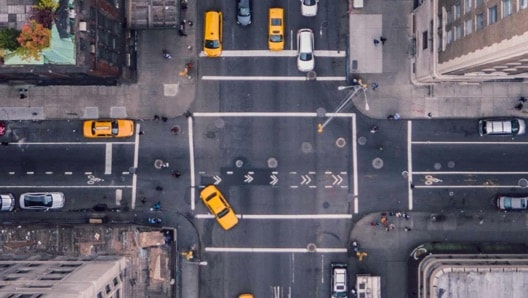Birdseye view of street in new york