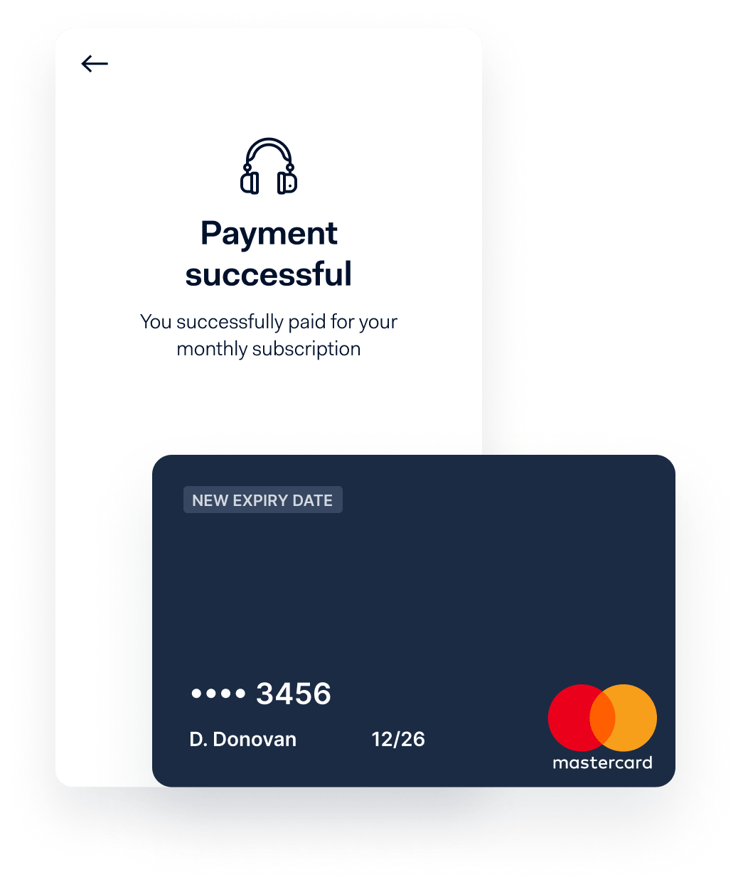 Successful payment screen and credit card