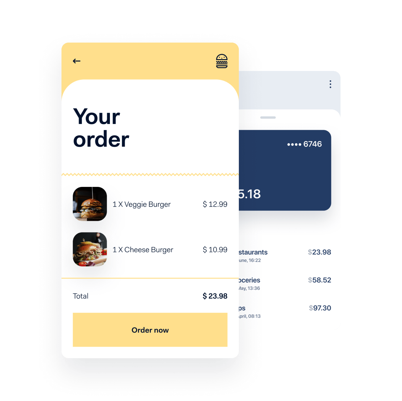 App interface for food order alongside a mobile wallet