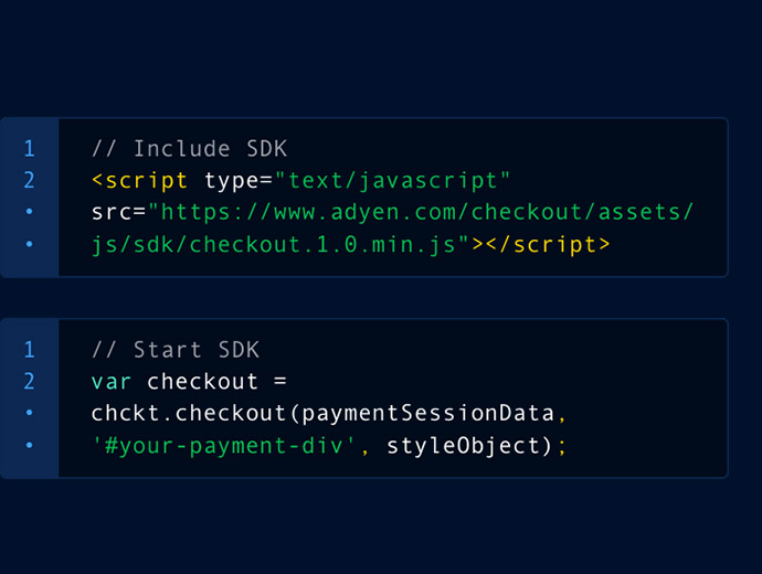 Screenshot of example programming code for the Adyen payment checkout integration