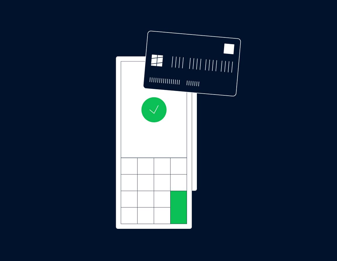 Credit card used to make a purchase on a terminal