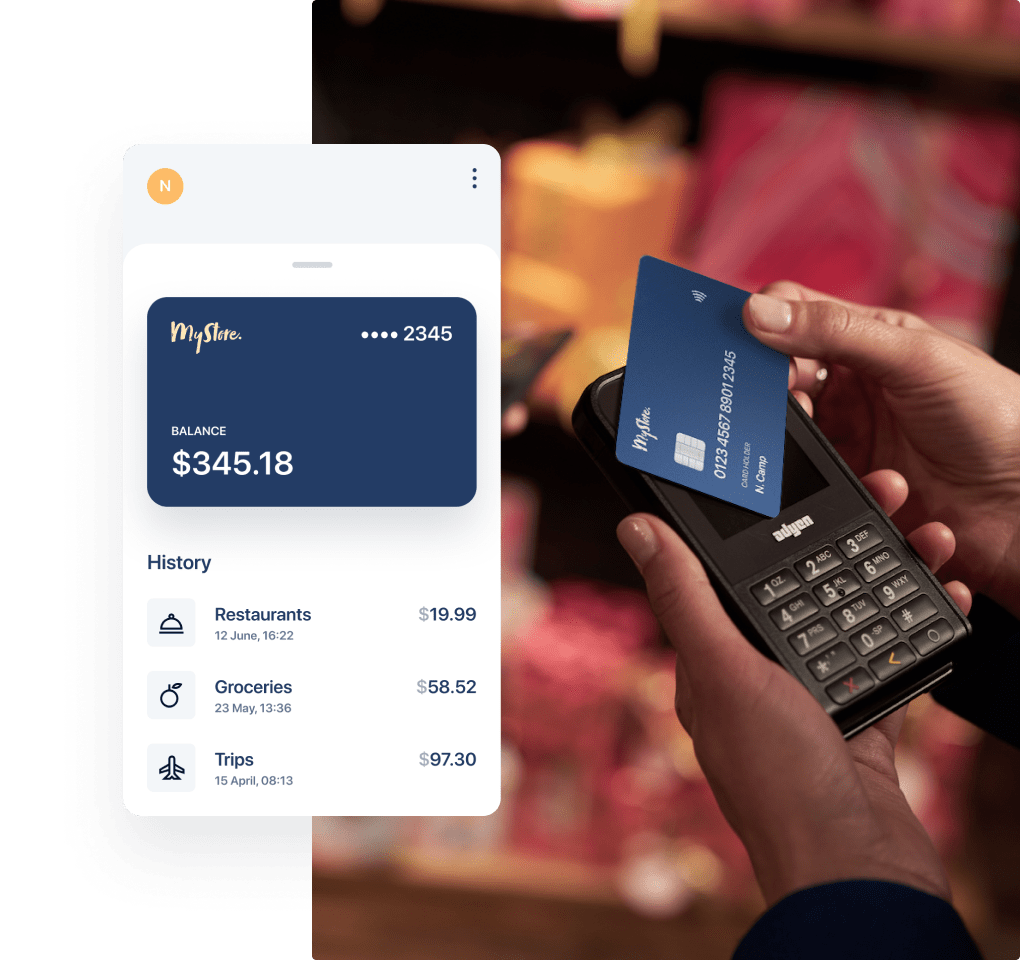 Branded payment card paying on an Adyen POS terminal