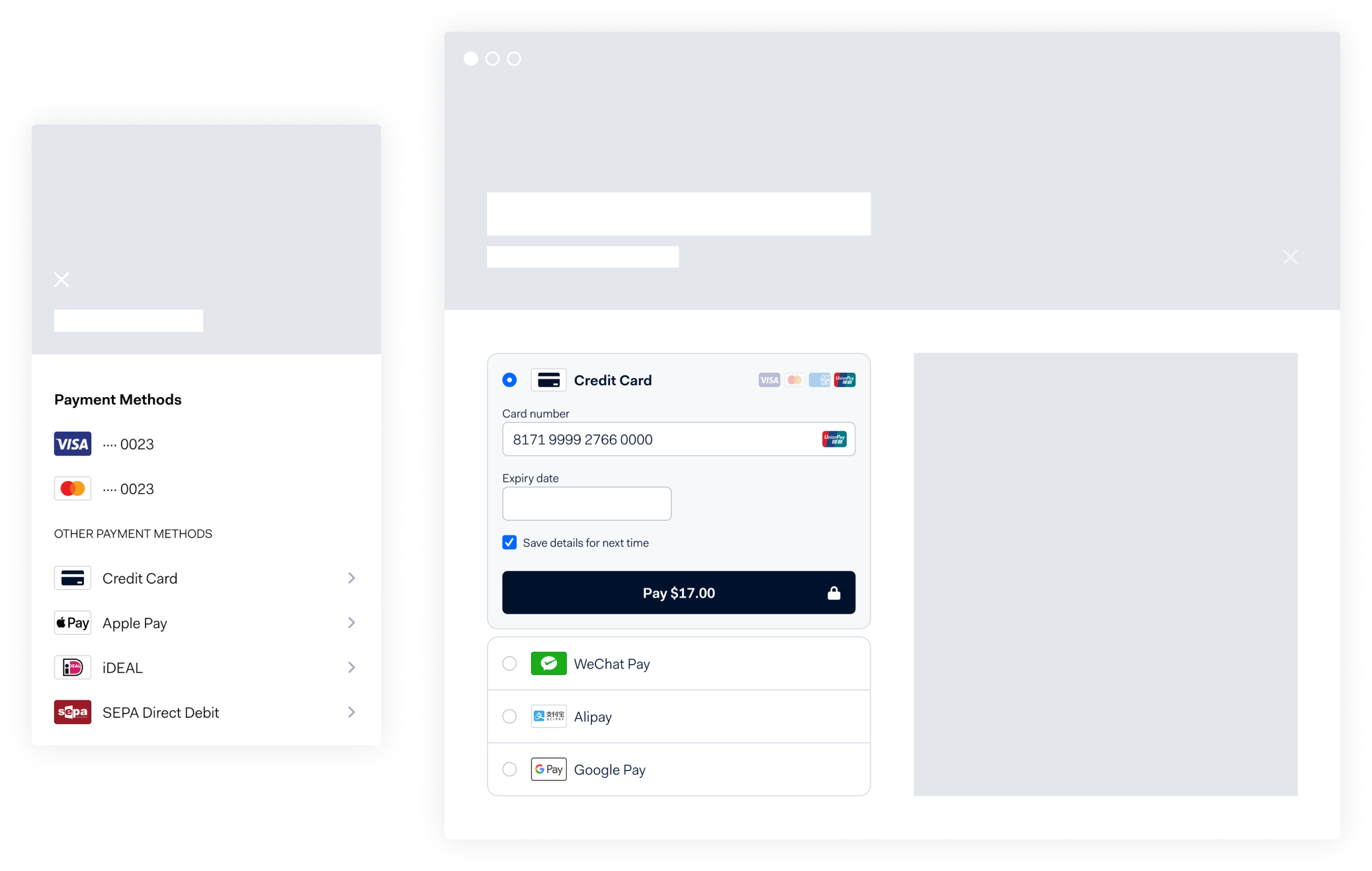 Adyen online payments wireframes