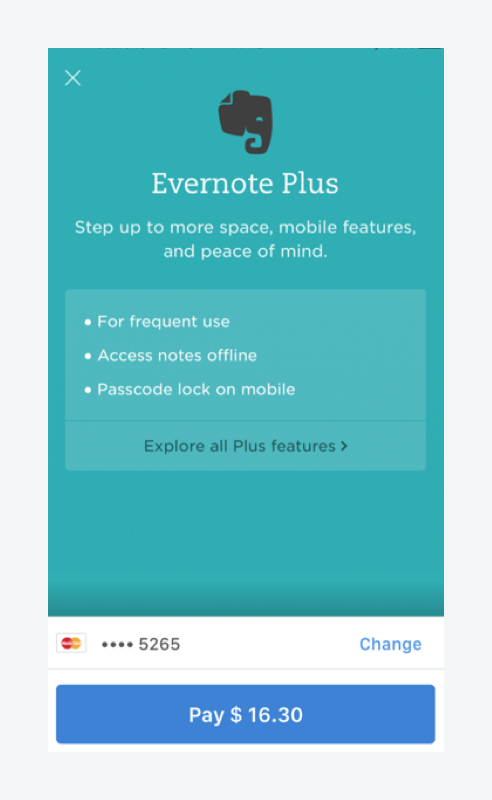 Evernote makes mobile payments easy by supporting one-click payments