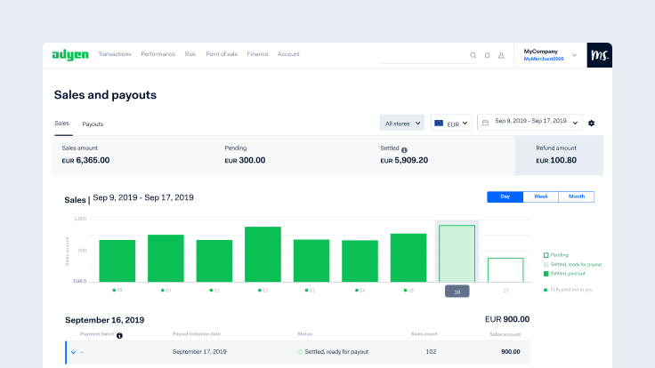 Adyen Dashboard screengrab