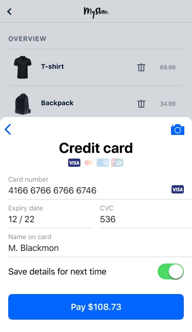 Credit card fields in-app